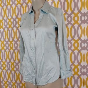 TALBOTS Button Front Collared Shirt Sateen Size 2P